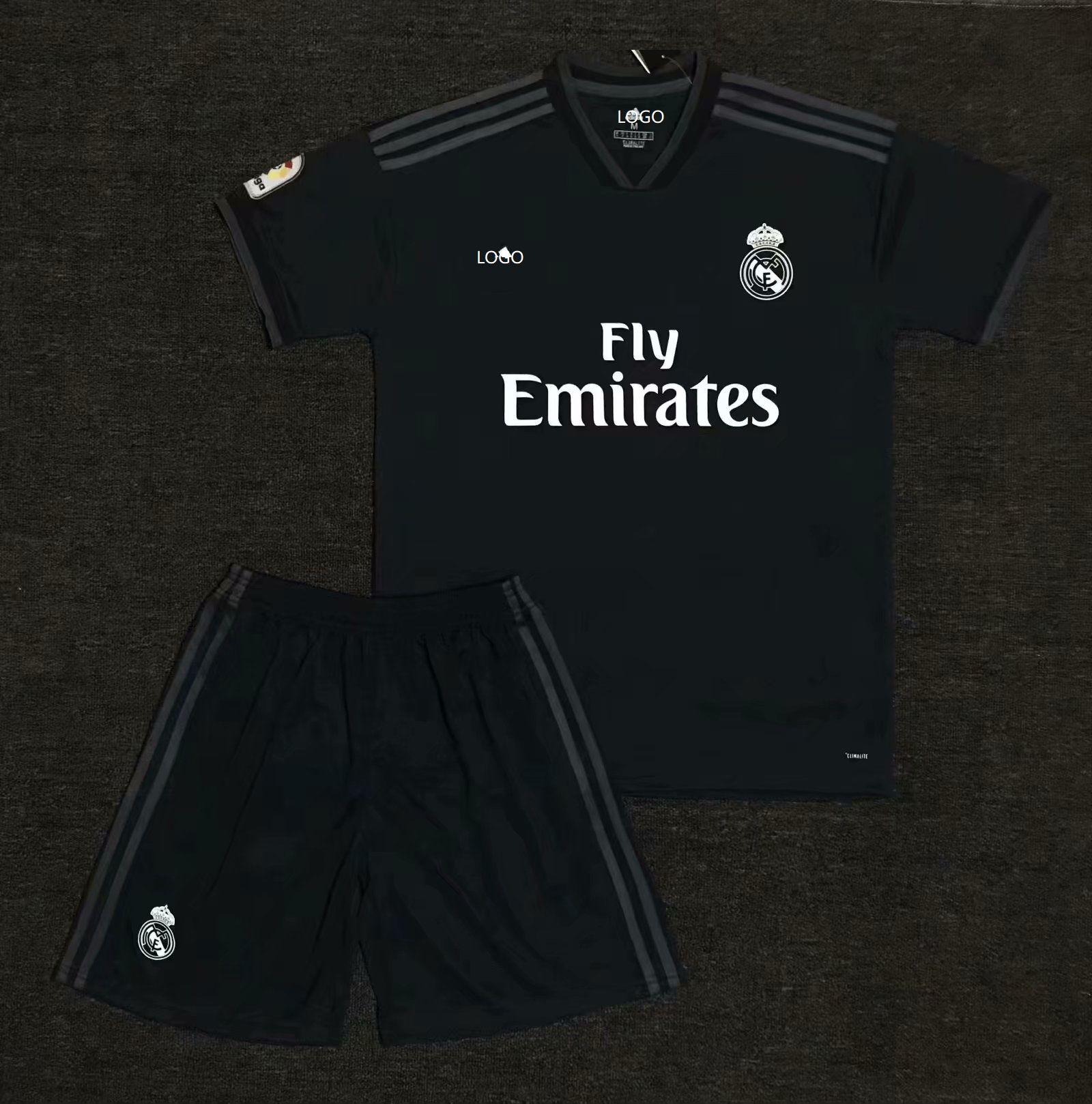 f0b6a0de4 2018 19 AAA Men Real Madrid Away Black Soccer Jersey Uniform Adult Football  Kits