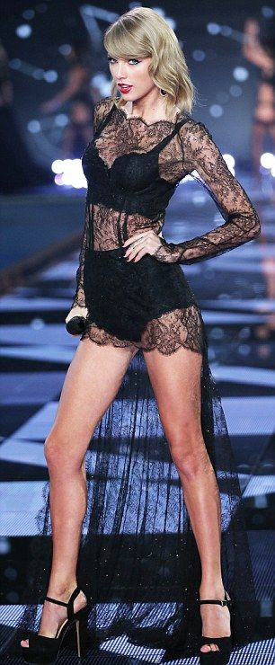 53d64ecf0c Fitting right in  Taylor looked sensational in black lingerie with a lace  overlay and dramatic train