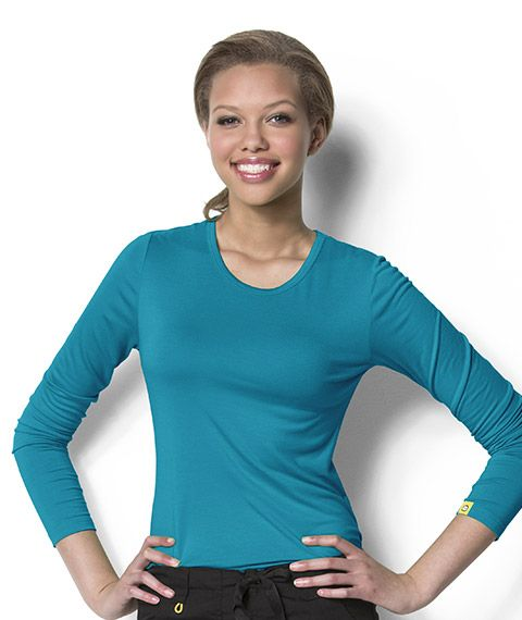 ee4b52dbc7d Wonder Wink Silky Long Sleeve Layering Scrub Tee | Gifts for Nurses | Scrubs,  Long sleeve, Fashion