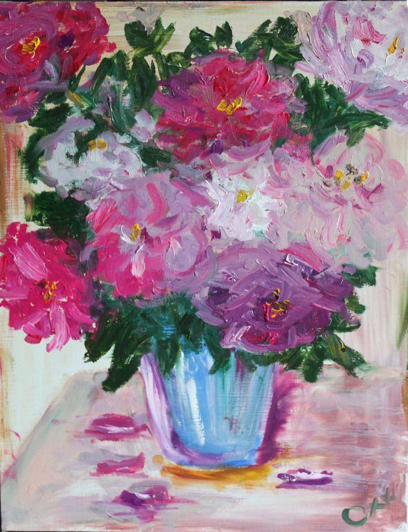 """Saatchi Online Artist: Oxana Smirnova; Oil Pastel, 2012, Drawing """"Peonies"""""""