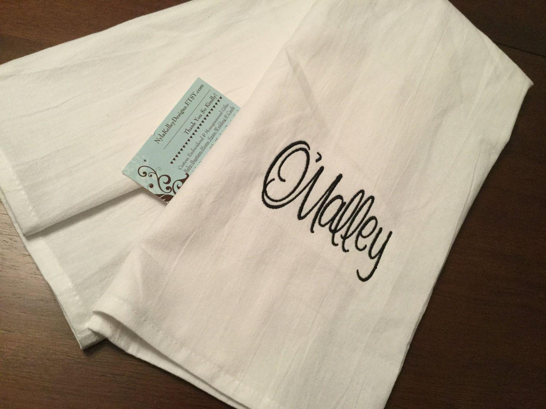 1 Flour Sack Towel 1 Custom Monogrammed Name Kitchen Hand Towel