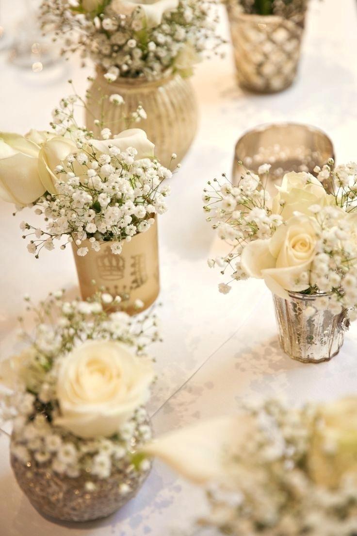 Gold White Flowers Baby Breath Tables Centrepiece Classic Chic Simple Elegant Champagne Wedding Diy Cen Goldene Hochzeit Deko Meine Hochzeit Tischdeko Hochzeit