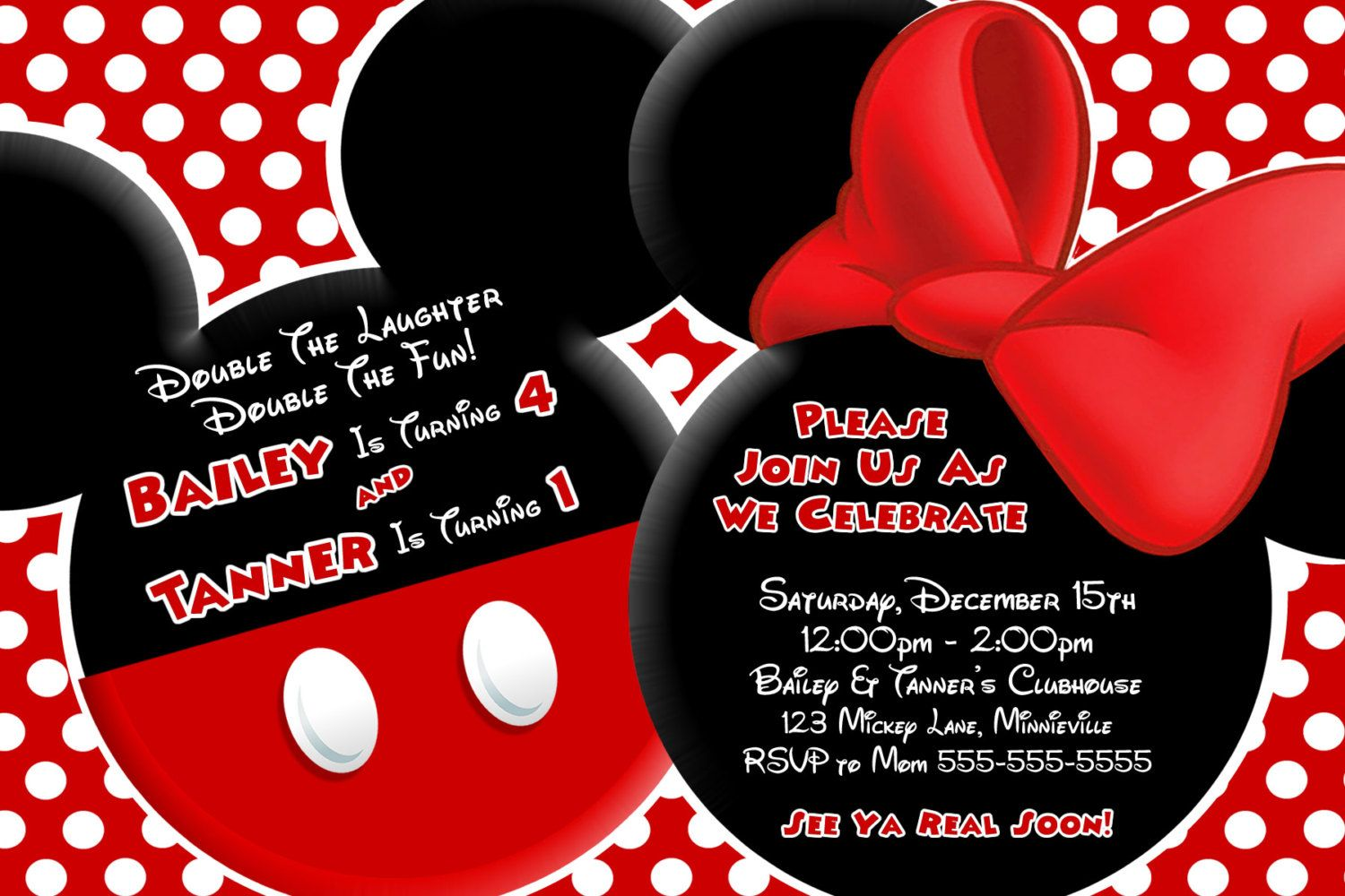 YOU CHOOSE Mickey Mouse Invitation For Twins, Minnie Mouse Baby ...