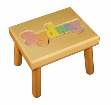 personalized small wooden puzzle stool pastel colors pastel colors
