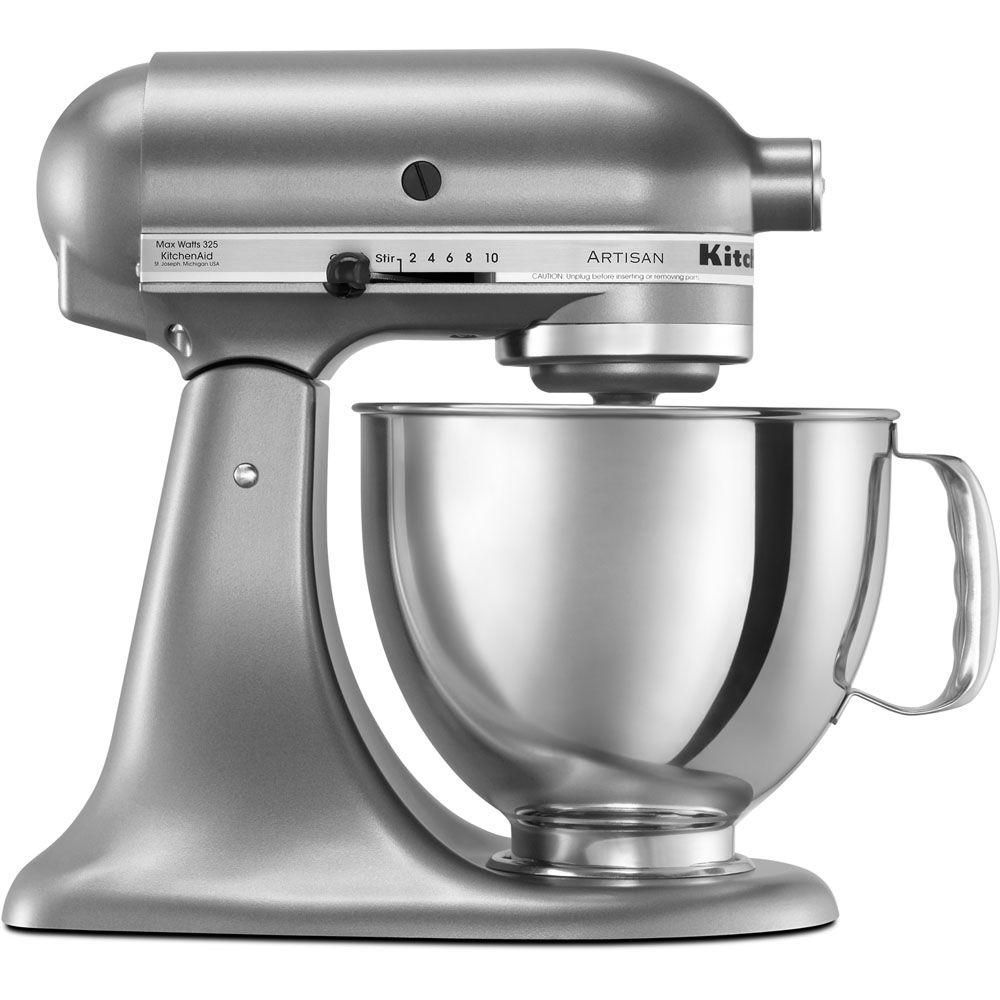 Kitchenaid Artisan 5 Qt 10 Speed Silver Stand Mixer With Flat