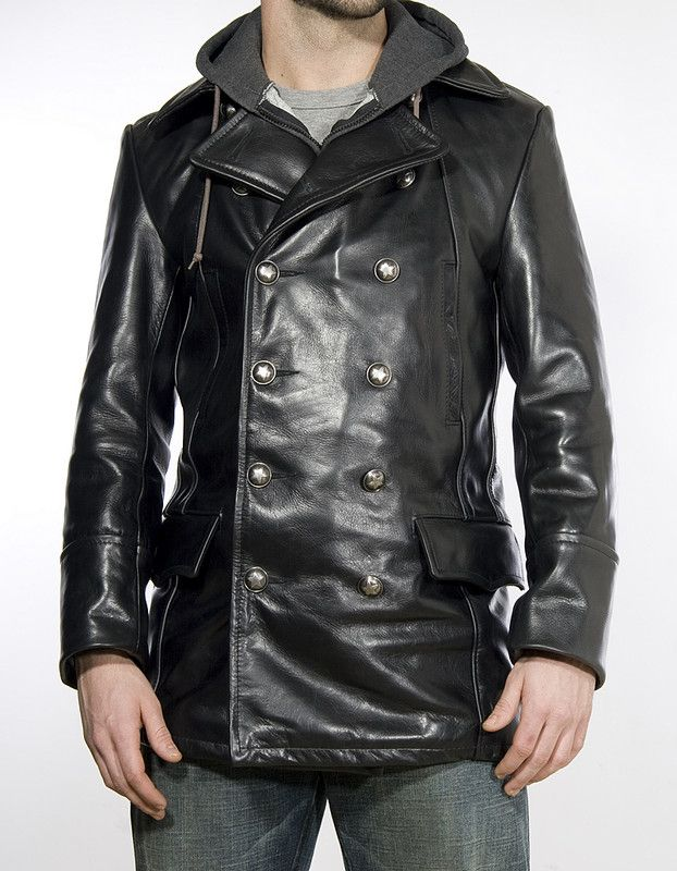 Double Breasted Military Leather Jacket 650 | Clothes | Pinterest ...