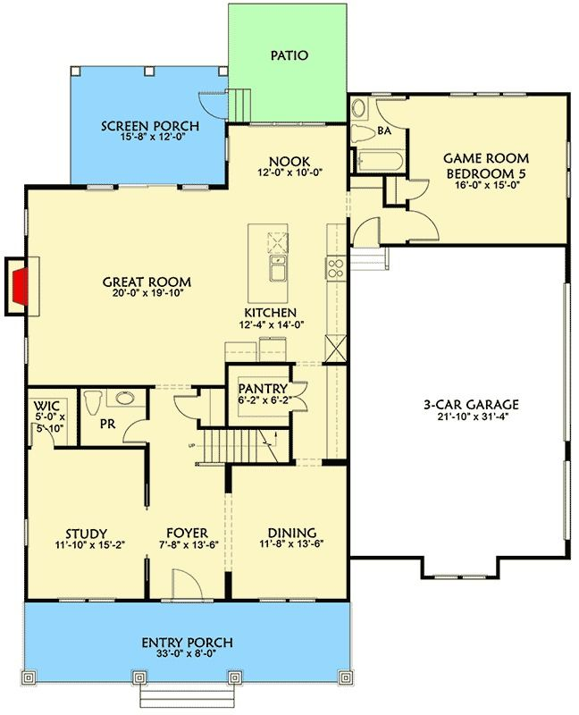 Plan 500007vv craftsman house plan with main floor game for Garage guest house floor plans