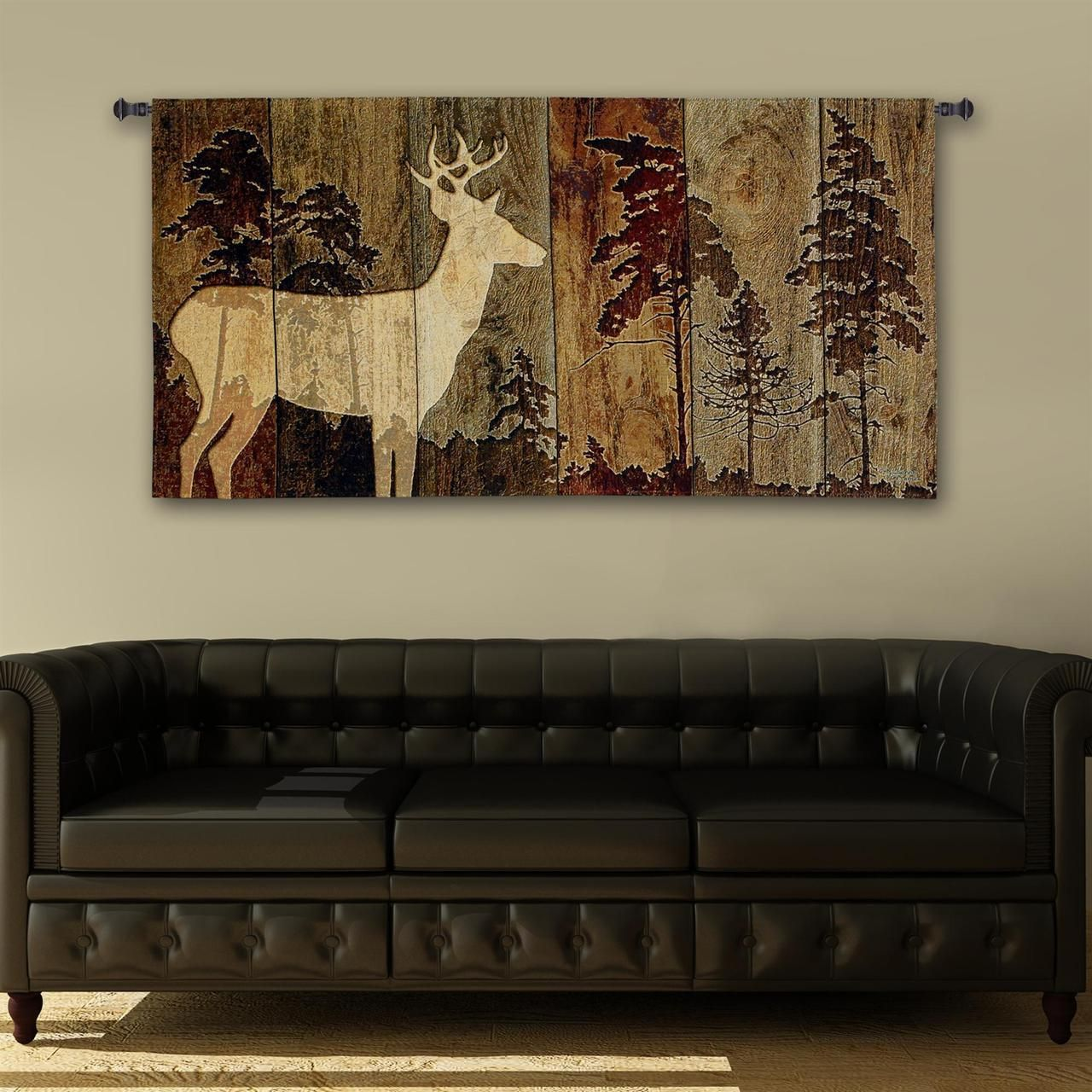 Woodburn lodge deer tapestry wall hanging cabin lodge - Rustic country bedroom decorating ideas ...