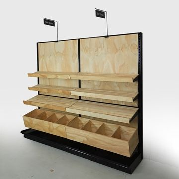 Bread Display Racks For Stores Bialy Bakery Display Cases And Shelving Your Choice Of Wood Stain 84 H Wall Bread Display Bakery Display Slatted Shelves