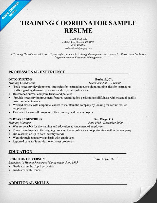 Example Training Coordinator Resume - Example Training Coordinator - reference page for a resume