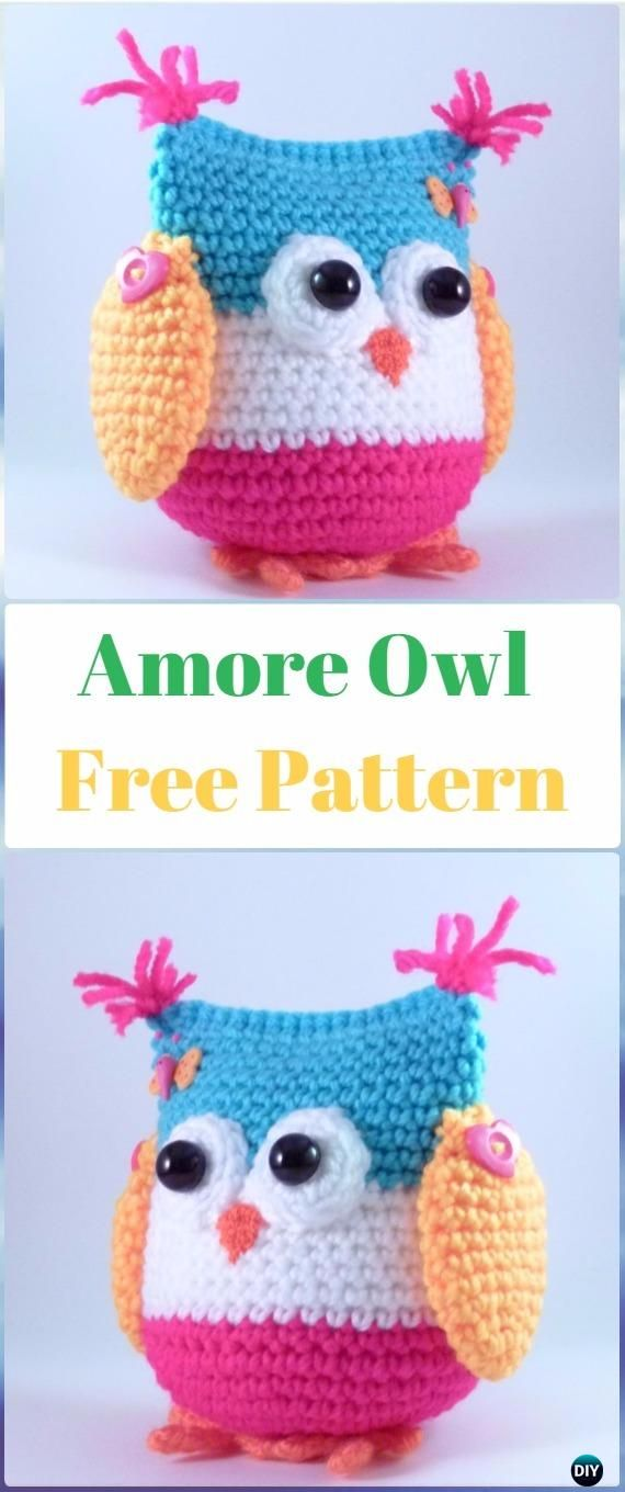 Amigurumi Owl - FREE Crochet Pattern and Tutorial...weird way to ... | 1360x570