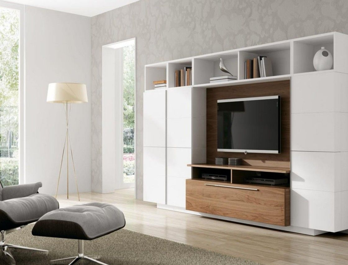 Beautiful White Brown Wood Glass Luxury Design Interior Tv Wall Unit ...