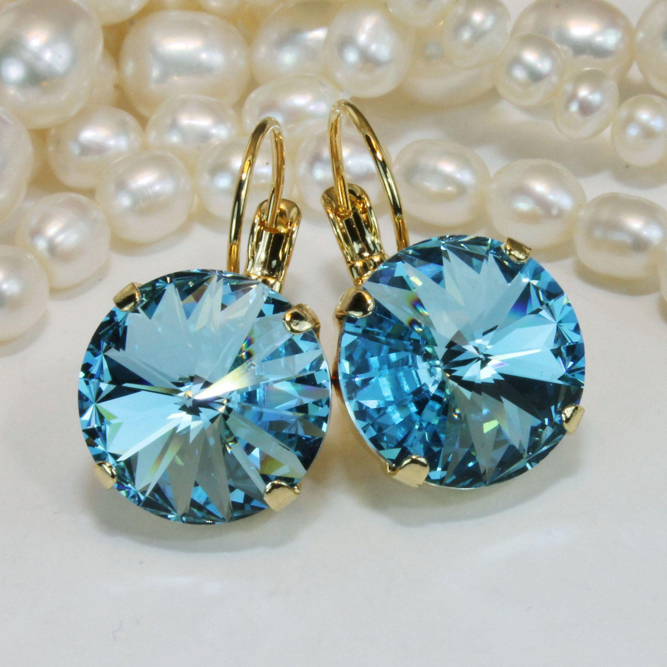 Aquamarine hoop earring Turquoise earrings blue earring