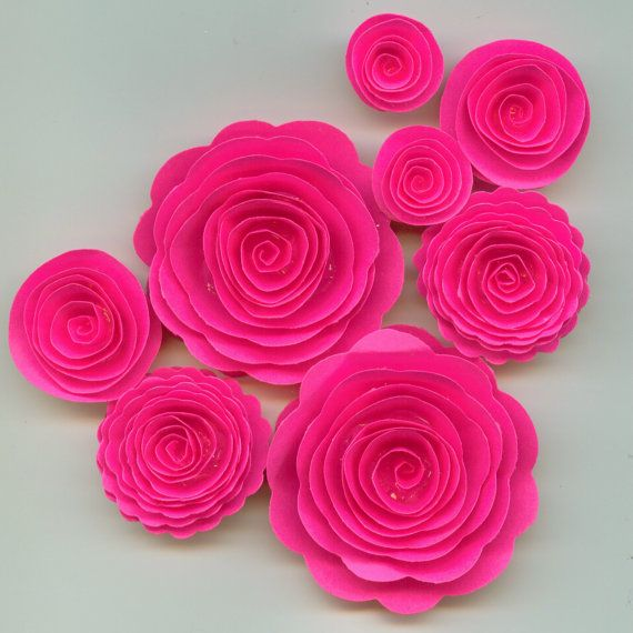 Bright hot pink spiral rose paper flowers by crazy2becrazy on etsy bright hot pink spiral rose paper flowers mightylinksfo