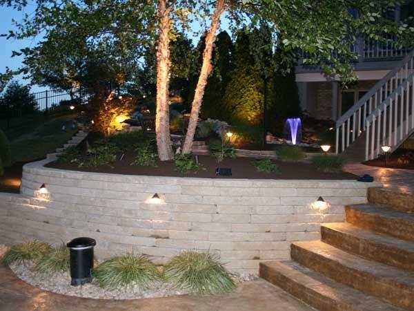 allan block  landscape block wall  down lighting