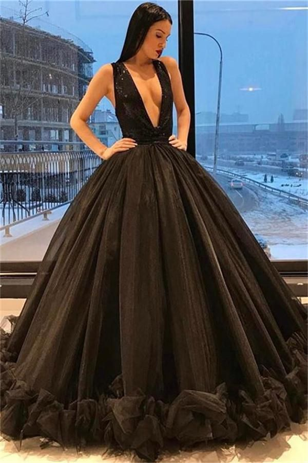 54aba4c5f3 Ball Gown Long Black Deep V-neck Modest Princess Prom Dresses Z0422 ...