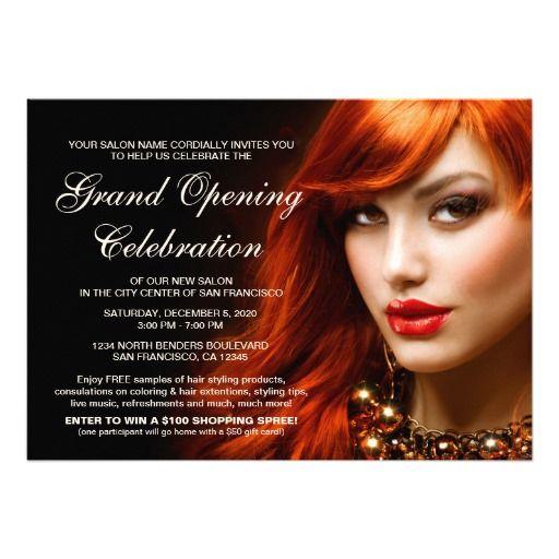 Beauty Or Hair Salon Grand Opening Invitations Zazzle Com Hair