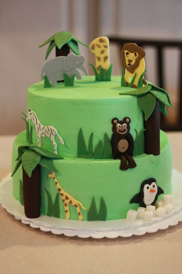 Zoo Birthday Cake Maxs First Bday Pinterest Zoo Birthday Cake