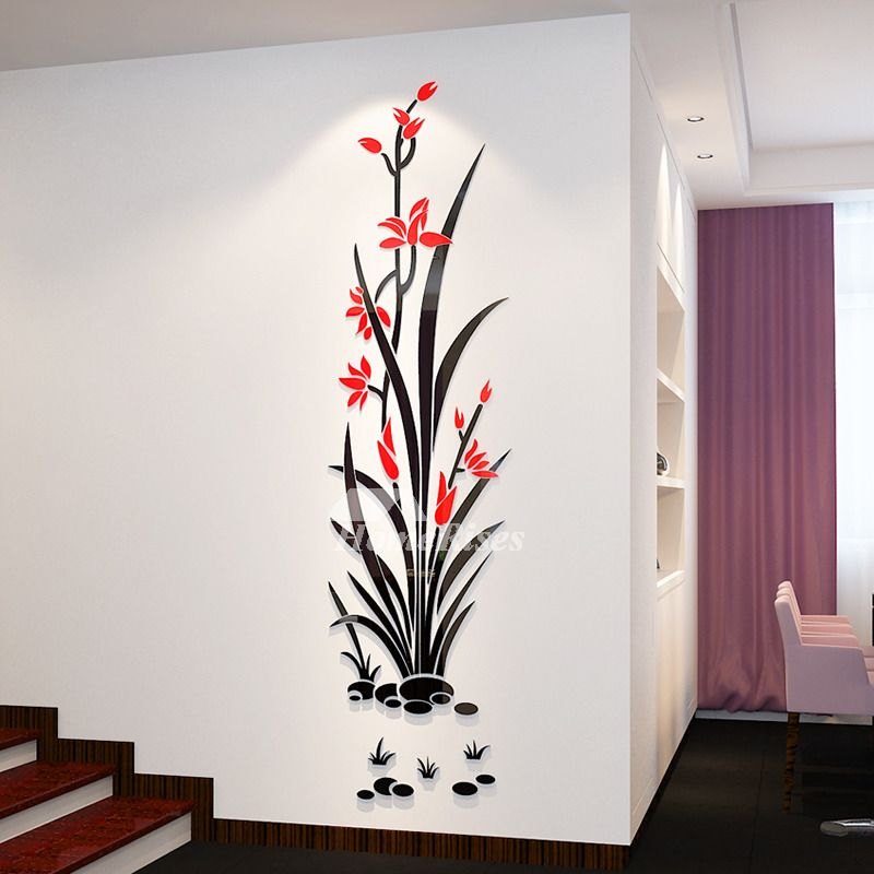 Floral Wall Decals 3d Acrylic Decorative Living Room Personalised Simple Wall Paintings Wall Decals Living Room Acrylic Wall Decor