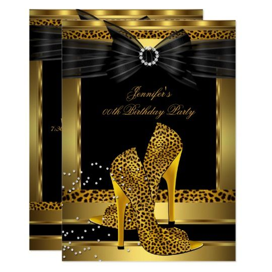 Gold Leopard High Heel Shoe Black Birthday Party Invitation