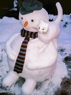 Bildergebnis für snowman and cat