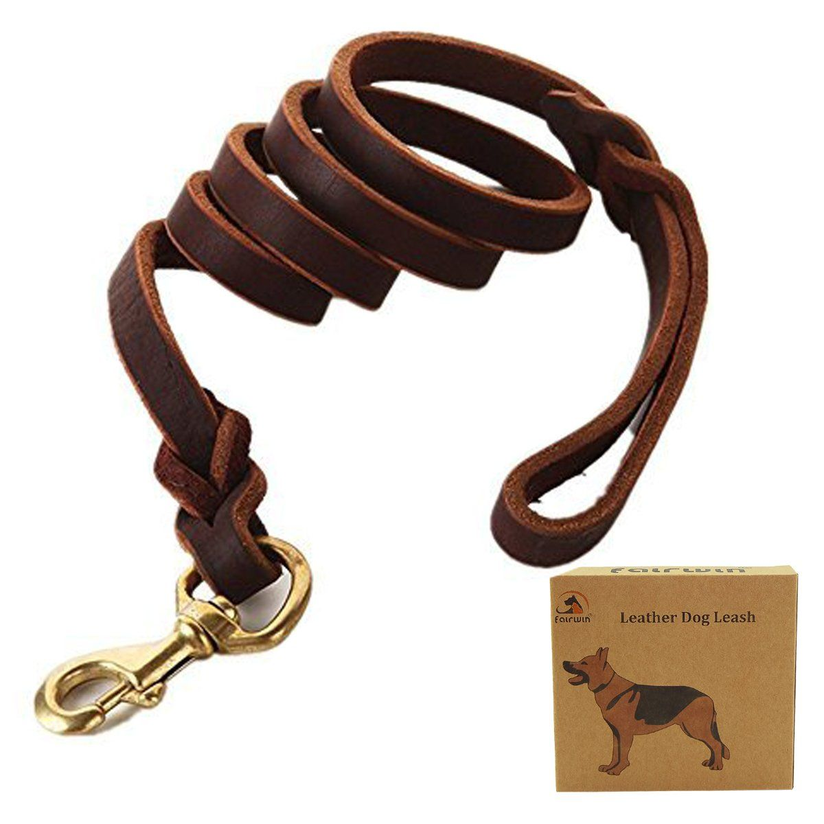 Fairwin Braided Leather Dog Leash 6 Ft K9 Walking Training Leads