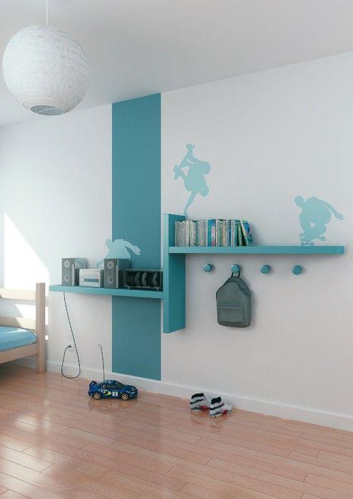 Bureau plusieurs tag res ikea repeindre for Ikea dormitorios ninos