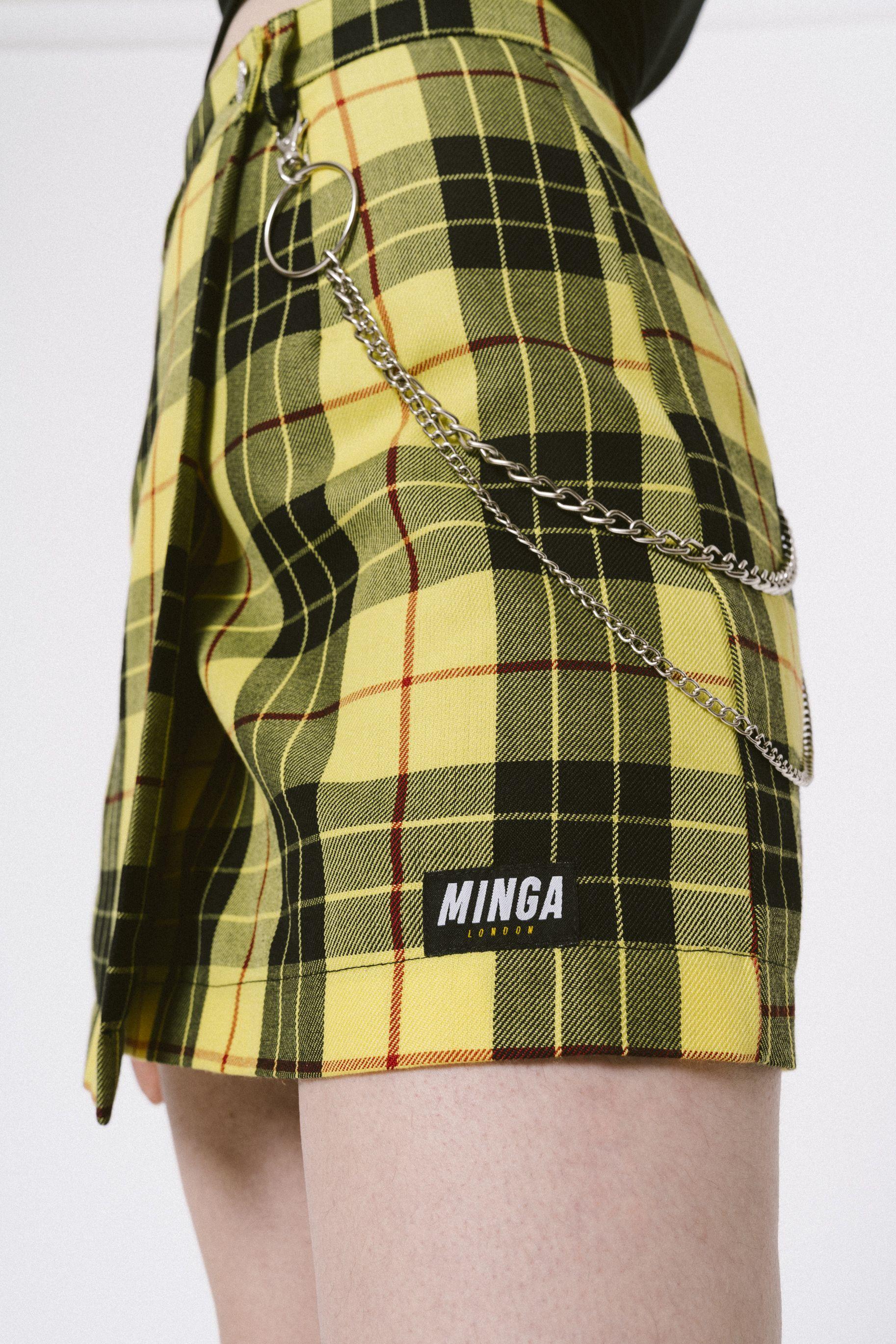 390bee39bf Checkered Skirt, Striped Tee, Yellow Mini Skirt, Grunge Teen, Plaid Skirts,