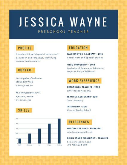 Yellow Blue Simple Pattern Preschool Teacher Resume Resume Ideas - preschool teacher resume