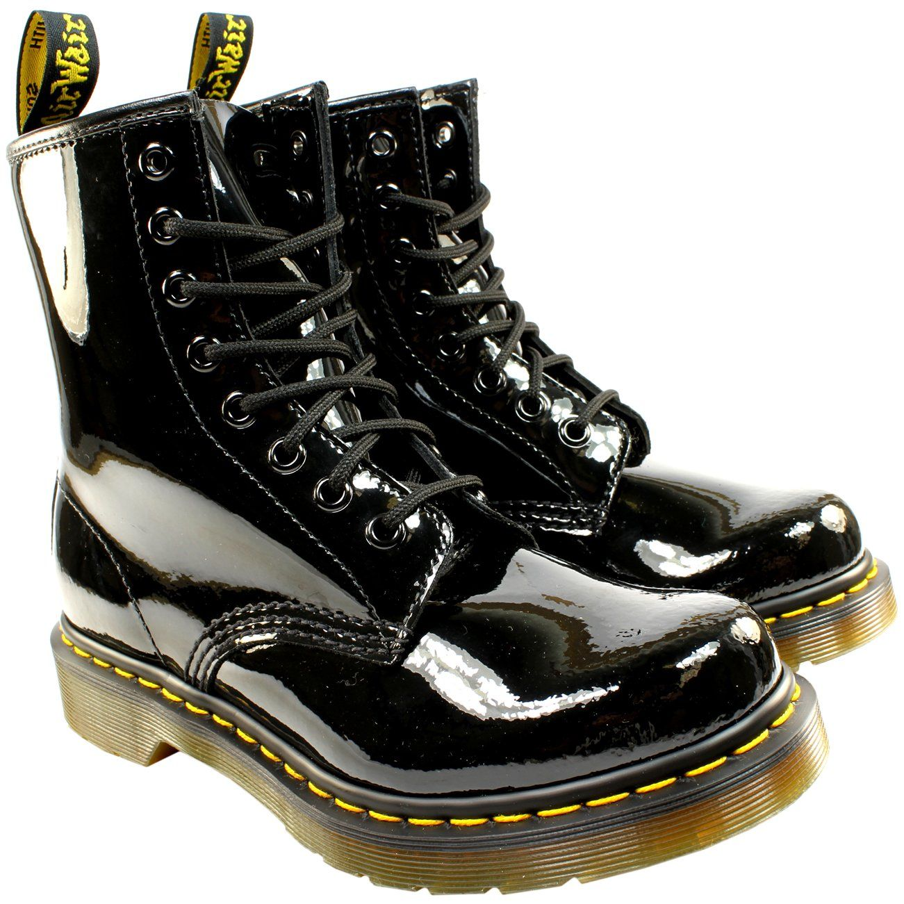 Dr Martens Womens 1460 W 8 Eyelet Patent Lamper Army Combat Lace Up Boot Black 8 See This Great Product This Is Boots Lace Up Boots Womens Ankle Boots