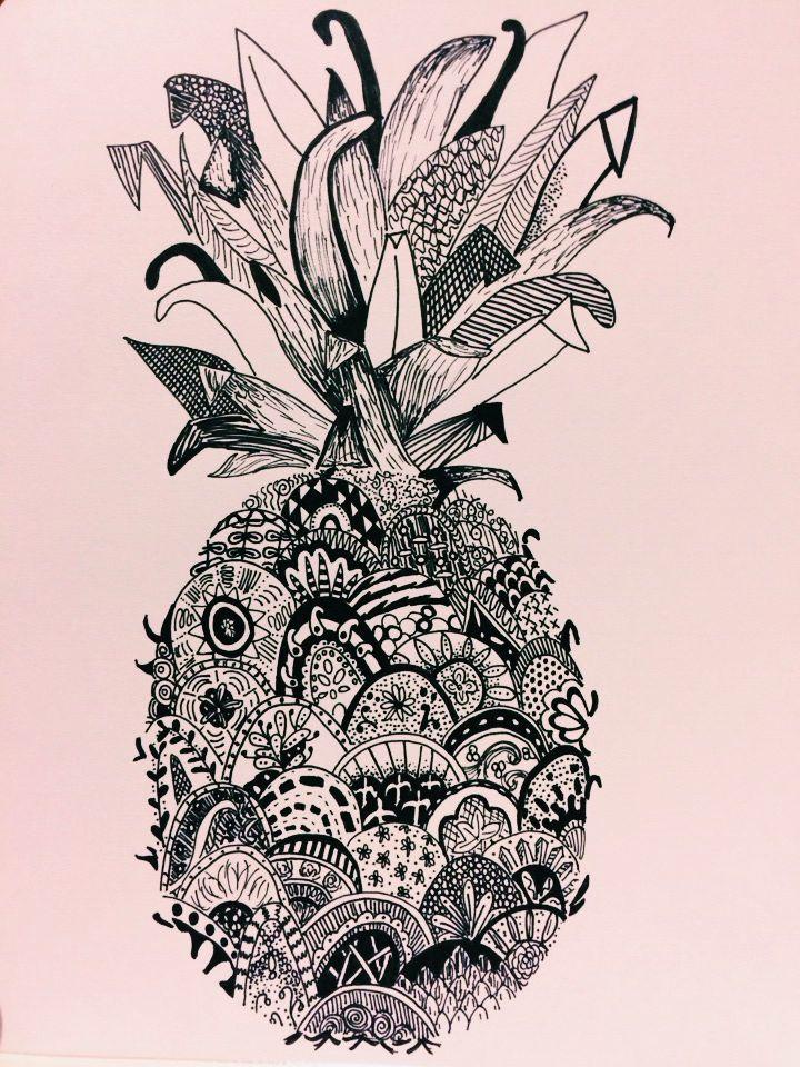 B W Pineapple Renee Pineapple Tattoo Pineapple Art