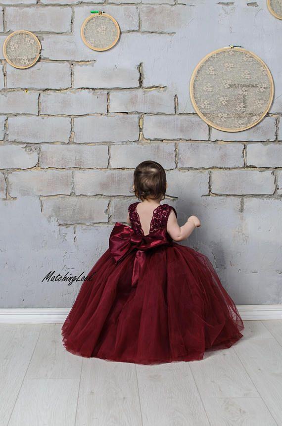 18baee950 Burgundy Flower Girl Dress, Lace Flower Girl Dress, Tulle Tutu Dress ...