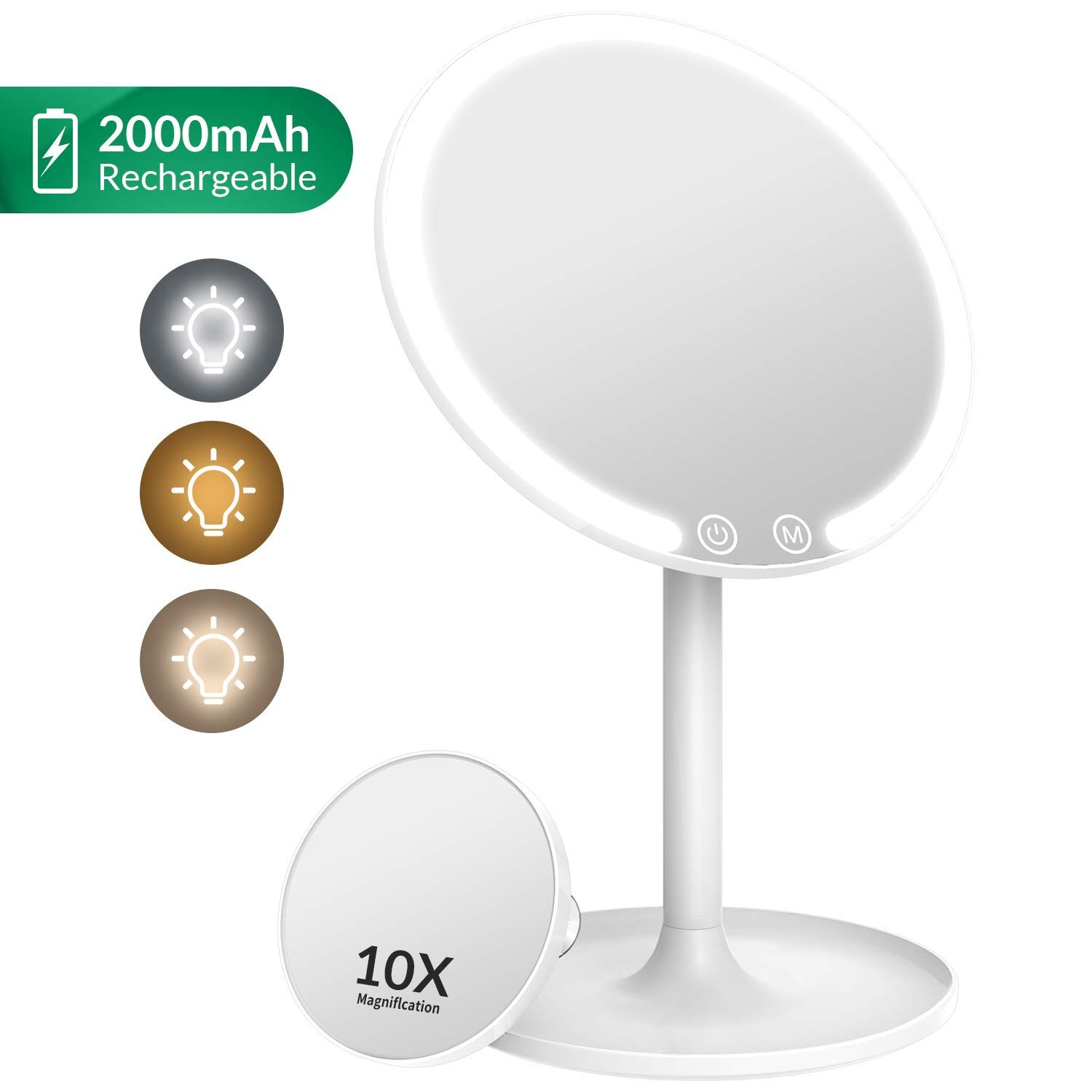 Easehold Makeup Mirror Rechargeable Lighted Vanity 3 Color Modes