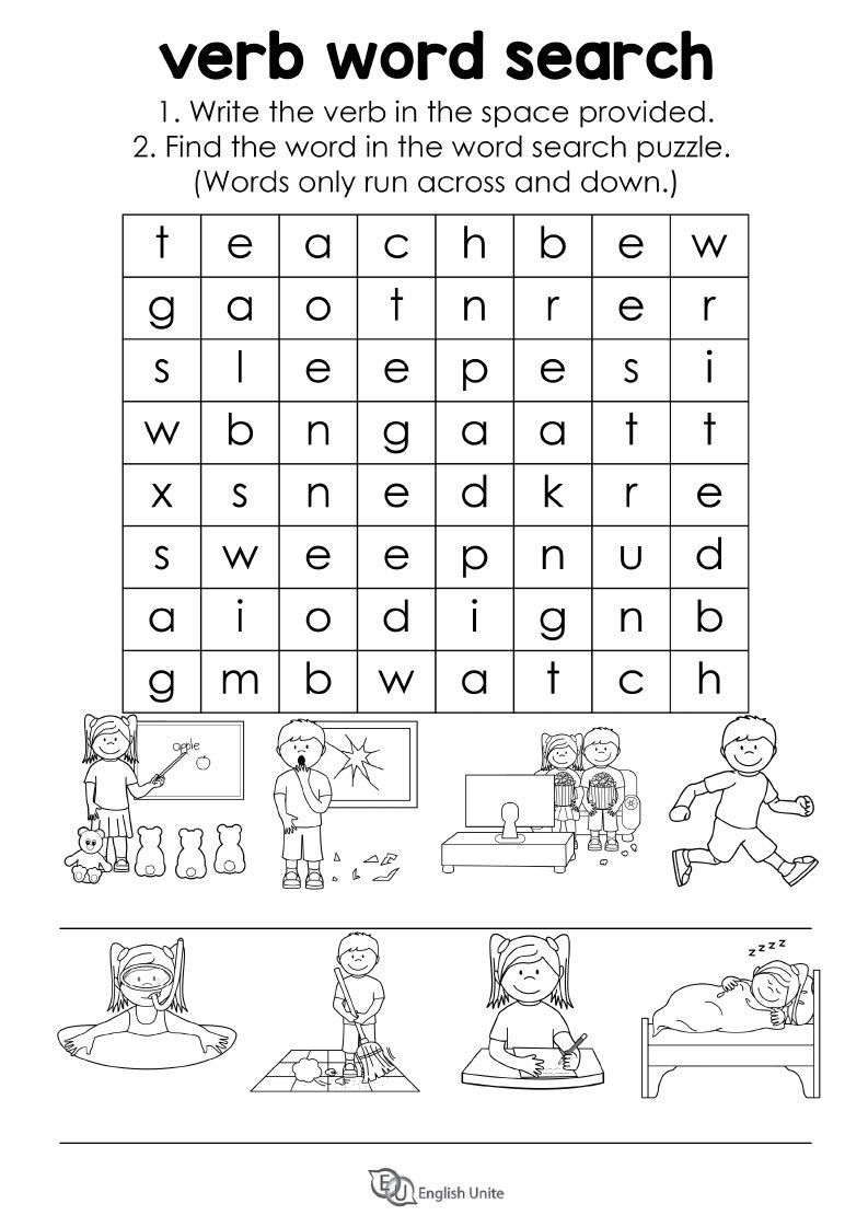 medium resolution of Verb Word Search Puzzle - English Unite   Verb words