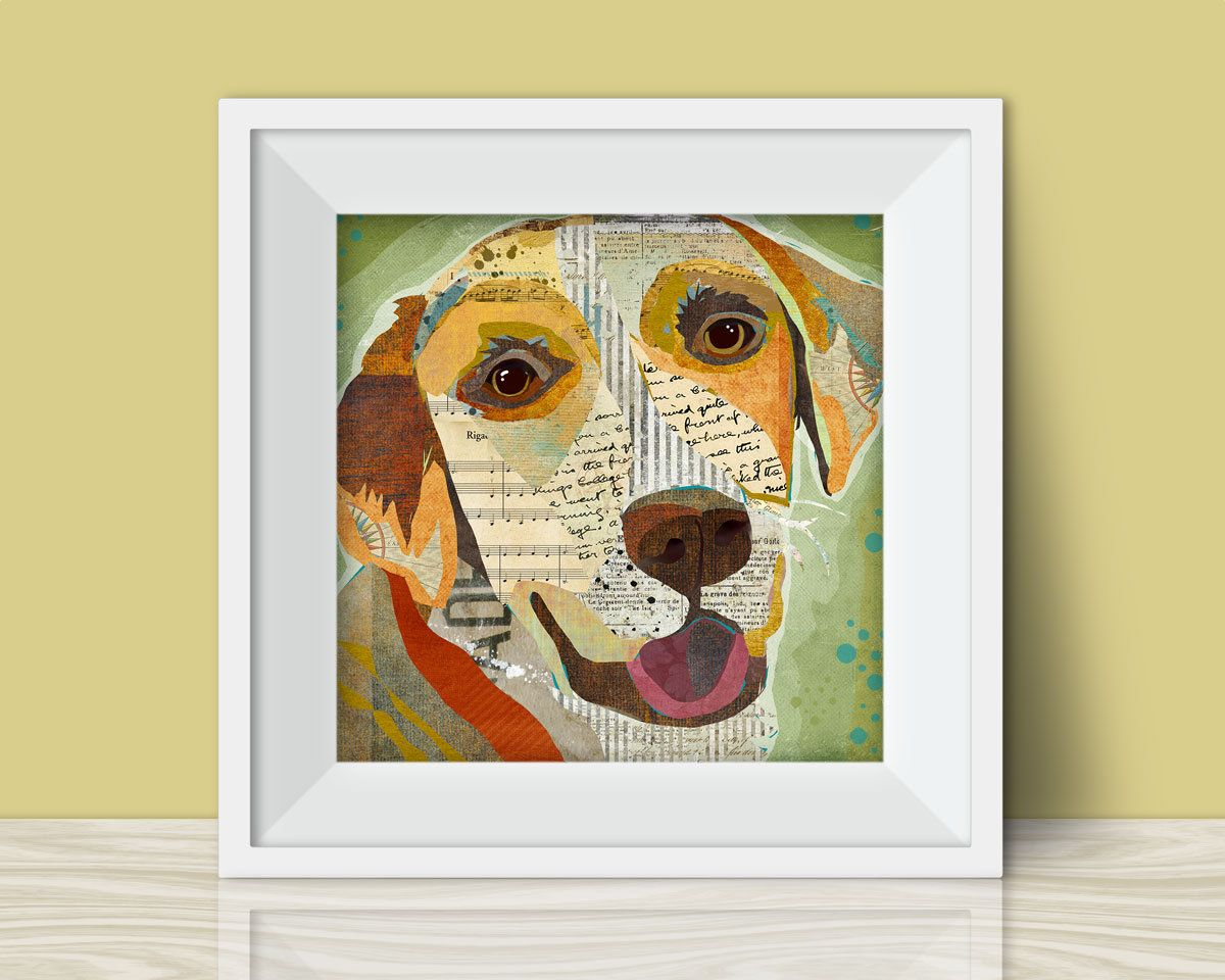 Yellow Labrador (Lab) Collage Style Art Print - A Whimsical and ...