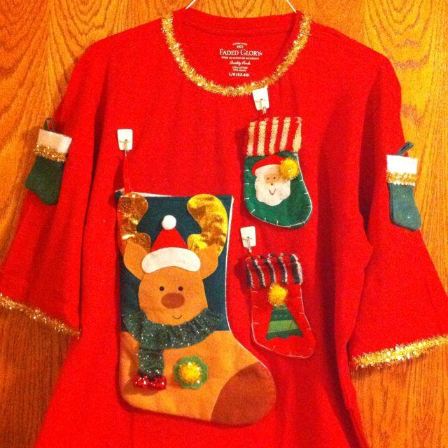 diy tacky christmas sweater dollar store stockings walmart shirt gold ribbon and lots - Christmas Shirts Walmart