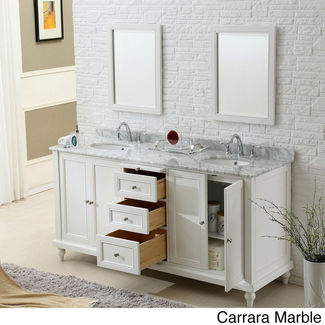 Vanity Sink 70-inch Classic Pearl White Double Vanity Sink Cabinet |  Overstock