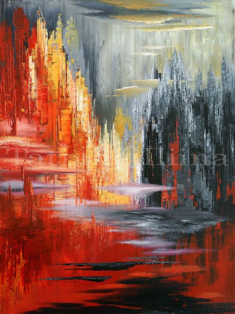 """Surreality Show"" - 36""x48"" - palette knife abstract cityscape painting - by Tatiana Iliina"