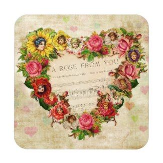 Vintage Hearts and Flowers Coasters
