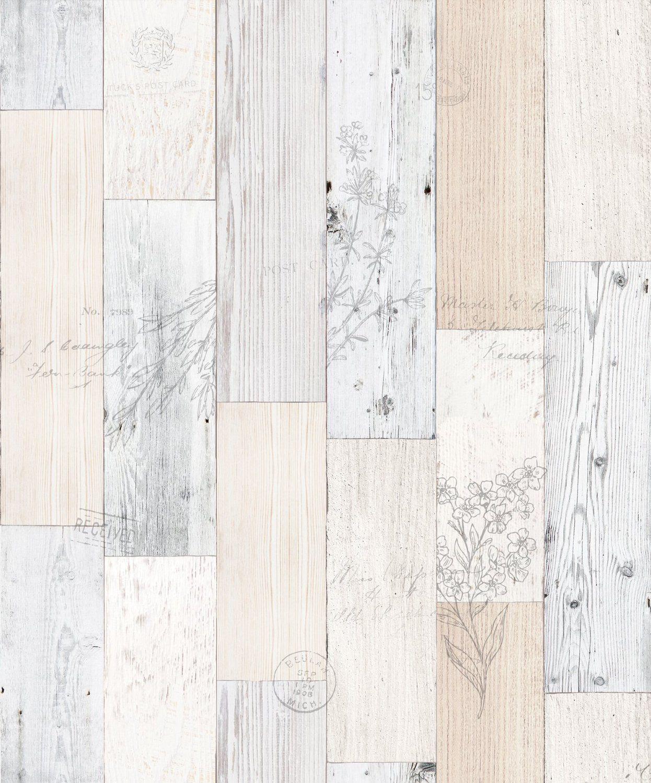 Vintage Herb Wood Panel Pattern Contact Paper Self