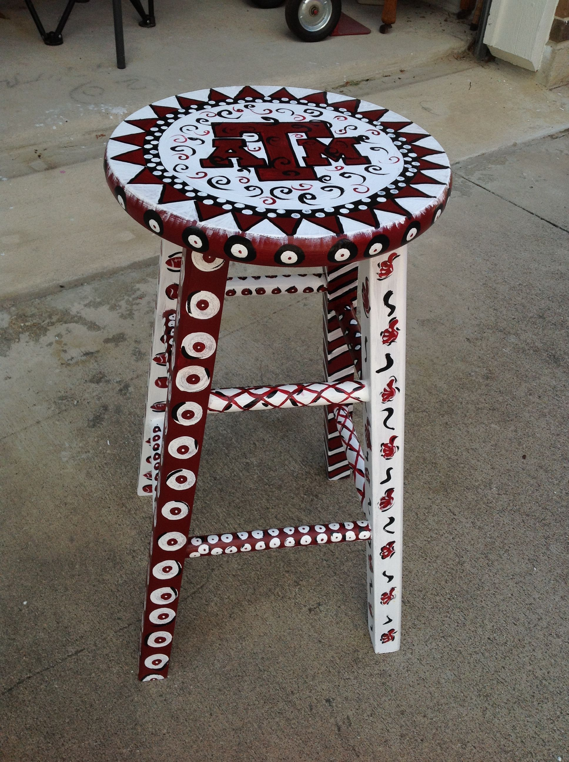 A Painted Stool Gig Em Find A Mays Me On Facebook Painted