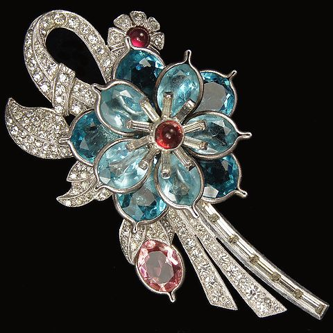 Pennino Pave and Baguettes and Aquamarine and Pink Topaz Pointed Petals Flowers Floral Spray Pin. 1938-42.