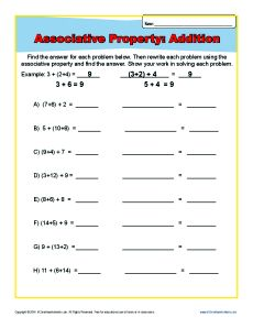 Addition Associative Property Worksheets For 1st And 2nd Grade Associative Property Math Addition Worksheets Algebra Worksheets