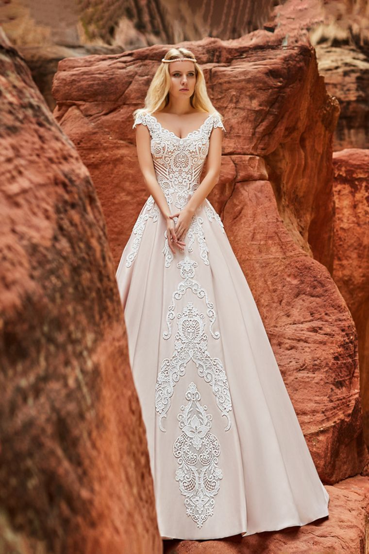 9e00b994b7 Buy Cheap 2018 scoop cap sleeves wedding dresses a line sweep train satin  x9c8436 Online