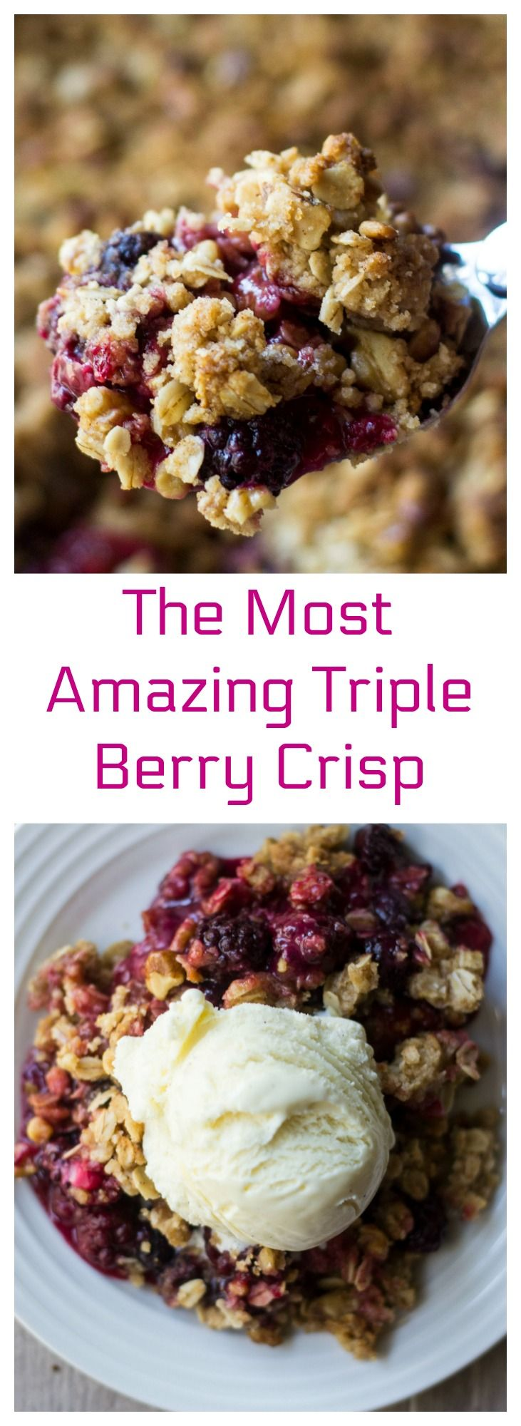 Triple Berry Crisp is part of Desserts - www awickedwhisk com