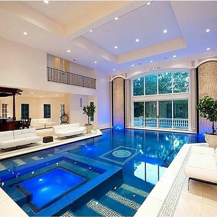 Theluxurygoodlife On Instagram Amazing Indor Pool Picture By Unknown Tell Me If You Know Pool Luxurypool Loveit Dream House Luxury Homes Mansions