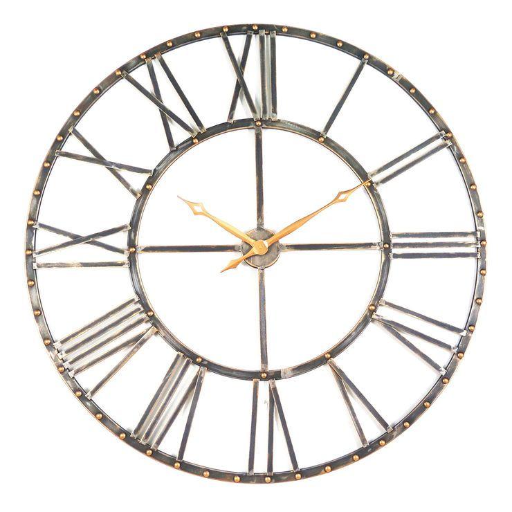 Bronze Copper Metal Studded Cutout Clock 45 Clock Copper Metal Wall Clock