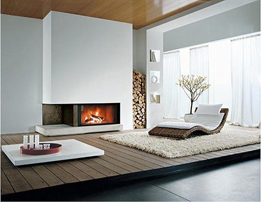 Salon con chimenea moderna deco pinterest chimeneas for Decoraciones economicas para el hogar