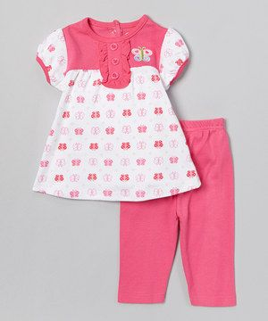 Look at this #zulilyfind! Pink Butterfly Tunic & Leggings - Infant by bon bébé #zulilyfinds