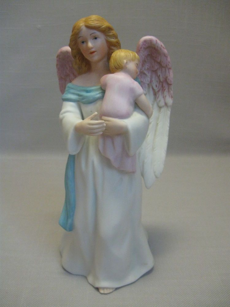 Homco Bisque Porcelain Figurine Statue Angel Holding Baby Home Interiors 1434